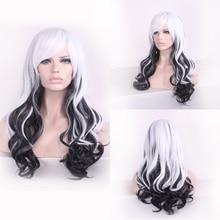 купить Anime Long Wavy White Black Ombre Wig Cosplay Costume Japanese Harajuku Lolita Hair Wigs For Women дешево
