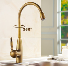 Free Shipping Antique Bronze Finish 360 Degree Swivel Brass  Kitchen Sinks Faucet / Fashion vintage  Hot and Cold Mixer Tap