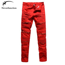 Men's fashion red white black holes ripped pleated biker jeans moto Casual slim stretch Knee zipper destroy denim pants trousers(China)