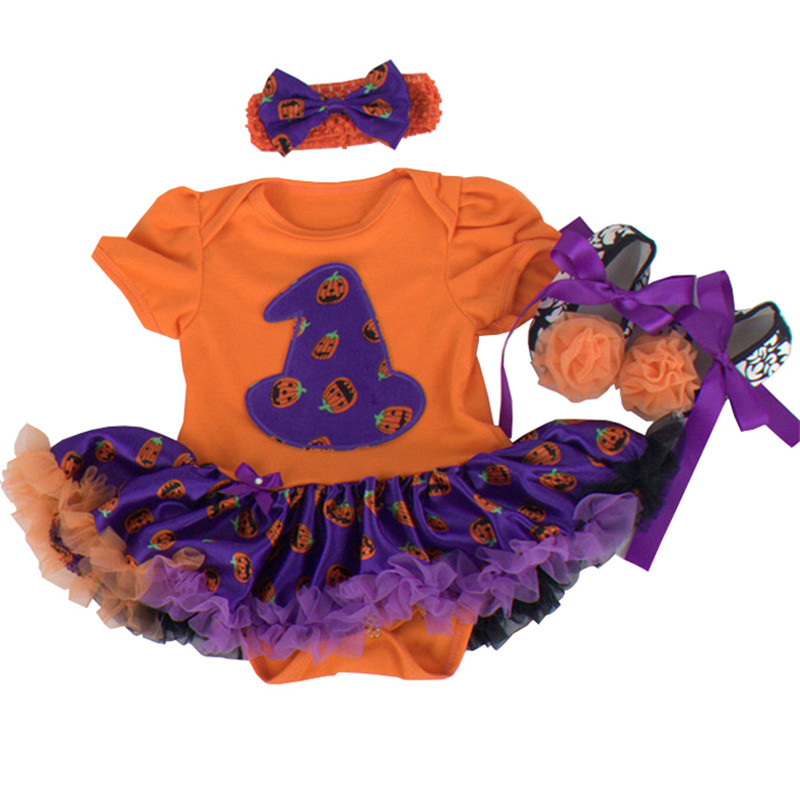 Pumpkin Skull Baby Halloween Costumes Bebe Romper Dress Shoes Headband Newborn Tutu Sets Girls Halloween Outfits Toddler Clothes