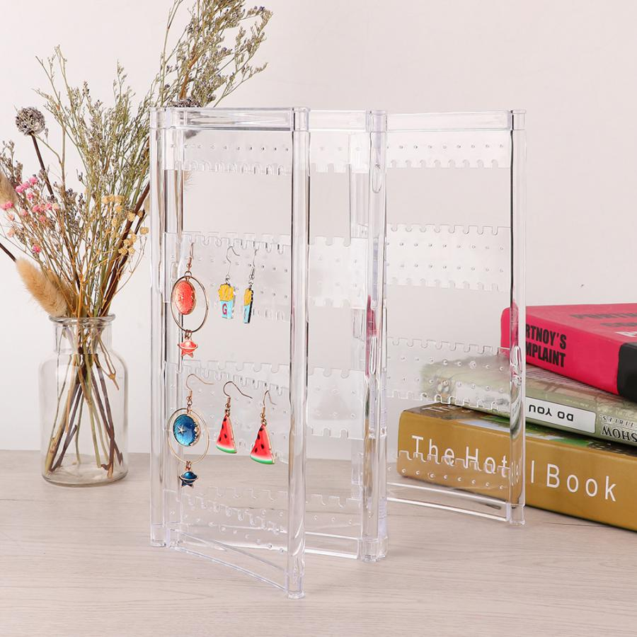 Clear Transparent Folding Bracelet Necklace Earring Ring Jewelry Display Stand Storage Rack Box Holder Jewellery  Organizer