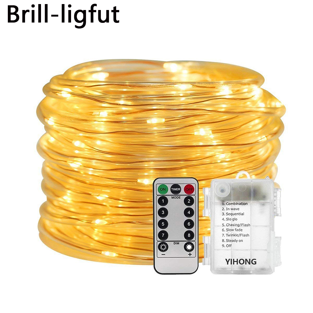 5M 10M LED Rope Tube String Fairy Light Lamp With 8 Mode Remote Timer Garden Christmas Garden Party Wedding Holiday String Light