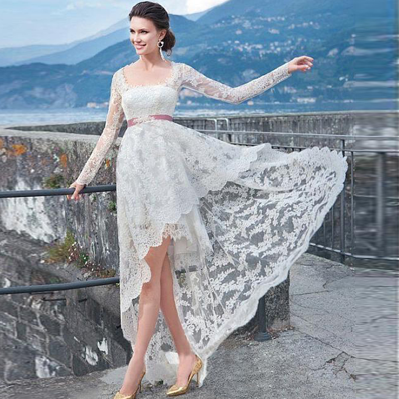 2016 sexy lace wedding dresses long sleeves high low style for Long sleeve high low wedding dresses