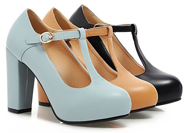 Womens Super Cute Thick Heel Platform Mary Jane Nice Candy Office Pump Shoes For Lady