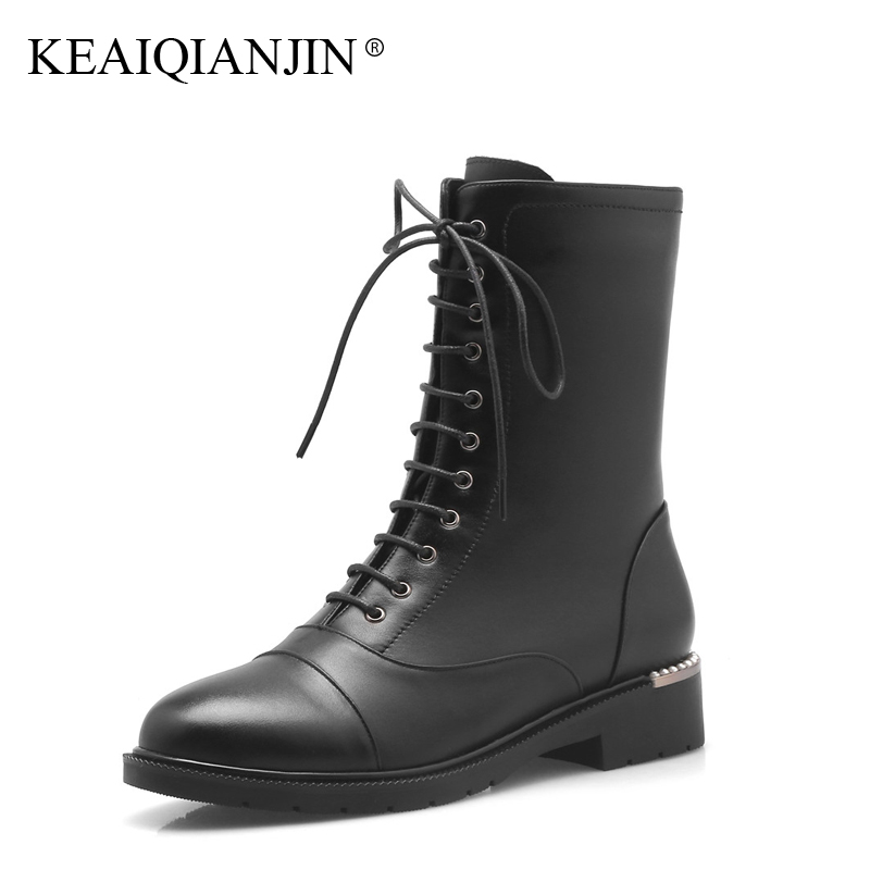 KEAIQIANJIN Woman Gothic Shoes Genuine Leather Rivet Punk Boots Autumn Winter Black Lace-Up Genuine Leather Ankle Boots 2017 women martin boots 2017 autumn winter punk style shoes female genuine leather rivet retro black buckle motorcycle ankle booties