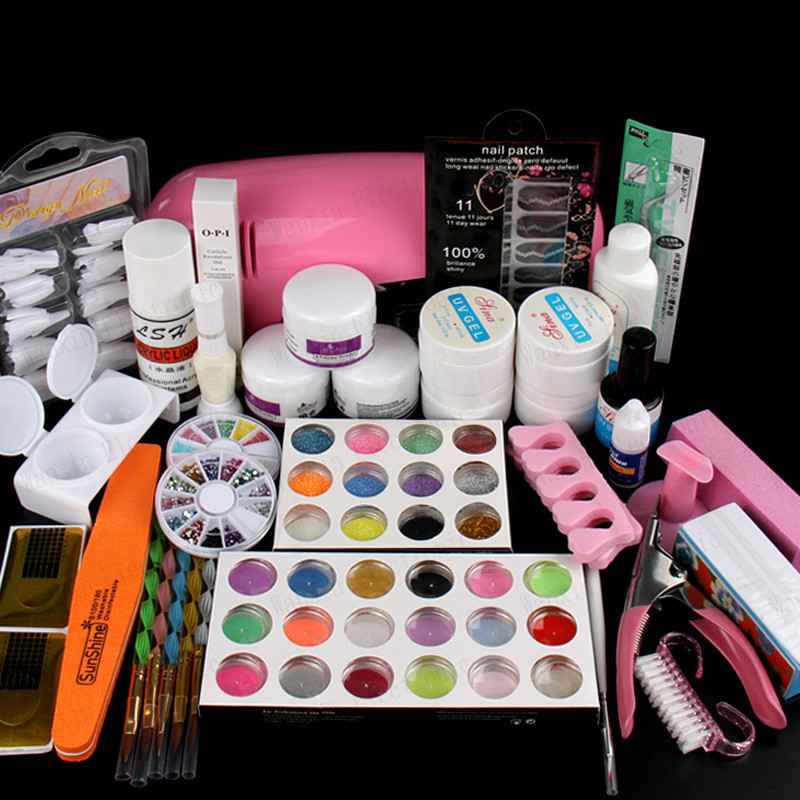 Professional Full Set UV Gel Kit Nail Art Set + 9W Curing