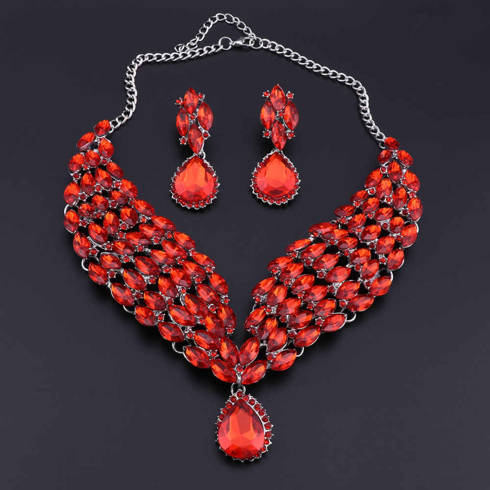 OEOEOS Fashion Indian Jewellery Indian Crystal Necklace Earrings Bridal Jewelry Sets For Brides Party Wedding Accessories