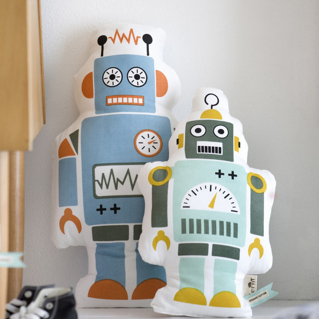 1 Pc Início Decoração do Quarto Crianças Bonito do Robô de Pelúcia Almofada Do Sofá Jogar Travesseiro