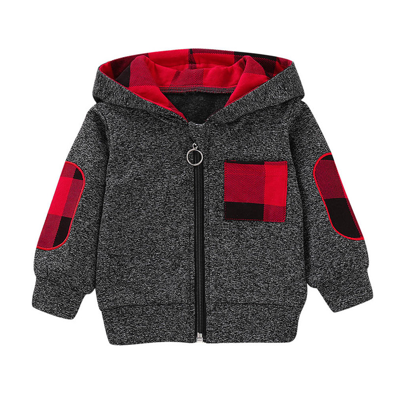 Winter Kids Coat For Girls Toddler Kids Baby Grils Boys Long Sleeve Plaid Pocket Hooded Zipper Coat Tops Kids Clothes O15#F