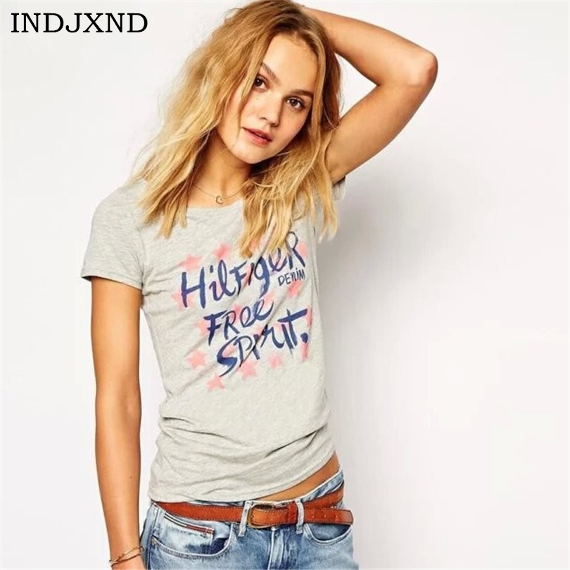 New Plus Size Tee Vintage Fashion T Shirts Europe Women Very Soft Camisas Letter Print Top
