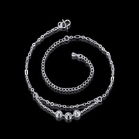 NEW 925 Sterling Silver 2017 Fashion Women Anklets Round Trendy Summer Beach Accessories Romantic Anklets Jewelry