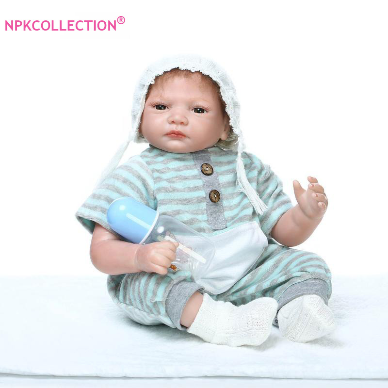 New 55cm Silicone Reborn Baby Boy Doll kids Playmate Gift For Girls 22 Baby Alive Doll Soft Toys For Bouquets Doll Bebe Reborn 57cm full silicone shower doll reborn baby boy doll kids playmate gift handmade lifelike bebe juguetes babies toys for bouquets
