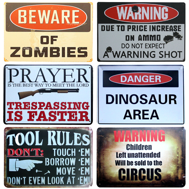 Beware Of Zombies Chic Home Bar Vintage Metal Signs Home Decor Vintage Tin  Signs Pub Vintage