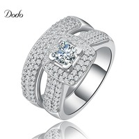 Vintage Wedding Ring Set For Women White Gold Plated Jewelry Exquisite Rings Luxury Engagement Bijoux For