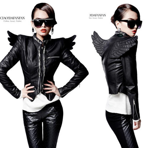 2019 spring wings stand collar long-sleeve slim motorcycle outerwear punk zipper short   leather   jacket clothing women costumes