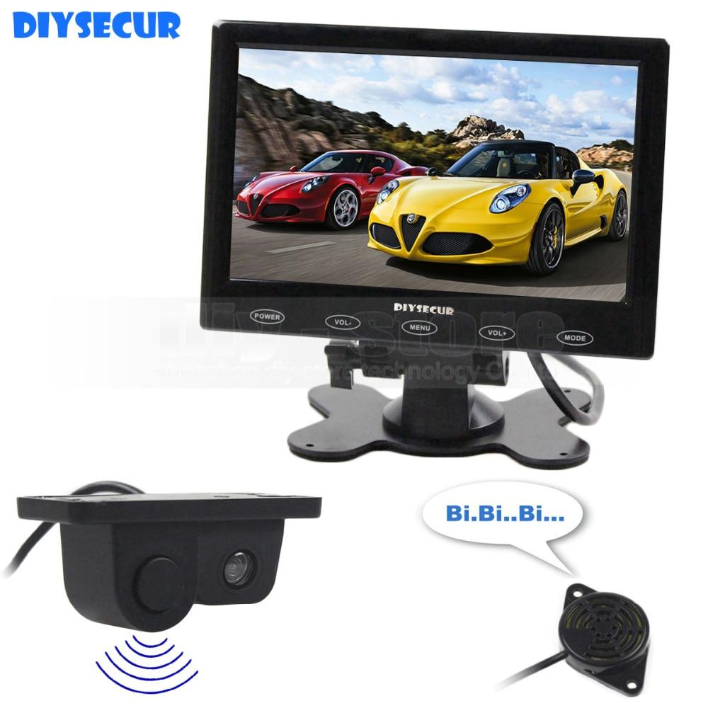 DIYSECUR 7 pouces tactile bouton Ultra-mince voiture moniteur + vue arrière voiture caméra sans fil Parking Radar capteur système d'assistance 2 en 1