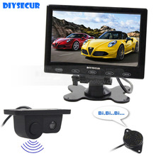 DIYSECUR 7inch Touch Button Ultra-thin Car Monitor + Rear View Car Camera Wireless Parking Radar Sensor Assistance System 2 in 1