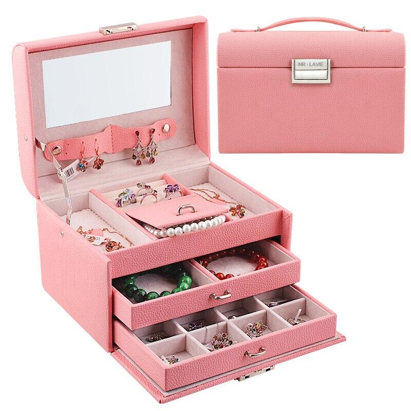 Continental Princesse Vache En Cuir Ligne Rose boîte à bijoux avec verrou Ceinture Miroir Accessoires Boîte Jewlry De Stockage organisateur de maquillage