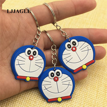 Cute Doraemon Cartoon Key Chain 10pcs/lot 37*35mm llavero Anime Bag Straps PVC Ring Holder Figure Toy Kid Trinket ACT003