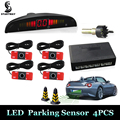 Car Parking Sensor with 4 Sensors Monitor Auto Reverse Backup Radar Detector System + LED Display + 13mm/22mm Original Sensors