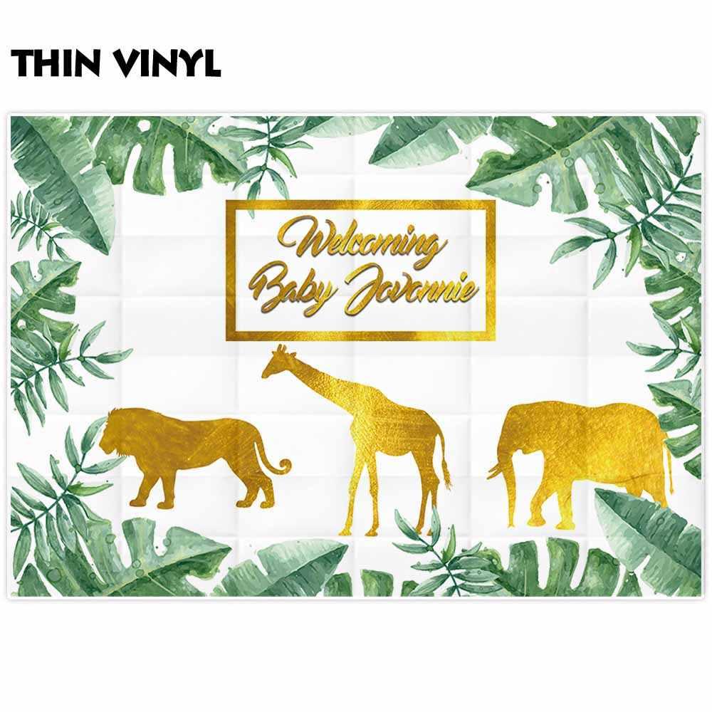 Funnytree fotoğraf arka planında beyaz altın hayvan siluet orman tropikal yeşil yapraklar bebek doğum günü partisi fotoğraf arka plan