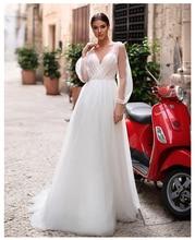 Платье свадебное кружевное до пола, с рукавами фонариками