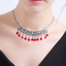 HOCOLE Bohemian Bead Pendant Necklace For Women Vintage Silver Color Multi-layer Ethnic Statement Female Party Jewelry