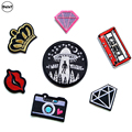 1 PCS Alien UFO parches Embroidered Iron on Patches for Clothing DIY Stripes Clothes Letter Stickers Custom Lipstick Badges @C