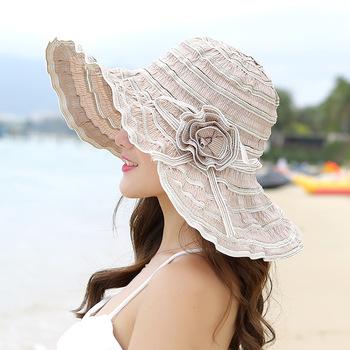 HT1676 2018 nowy modny kapelusz damski Korea styl kwiat Packable duży szeroki kapelusz anty-uv regulowany panie Floppy kapelusz przeciwsłoneczny na plażę tanie i dobre opinie Sun kapelusze Na co dzień Poliester COTTON WOMEN Aerlxemrbrae Stałe Chiny (kontynentalne) Dla dorosłych sun hat summer hat