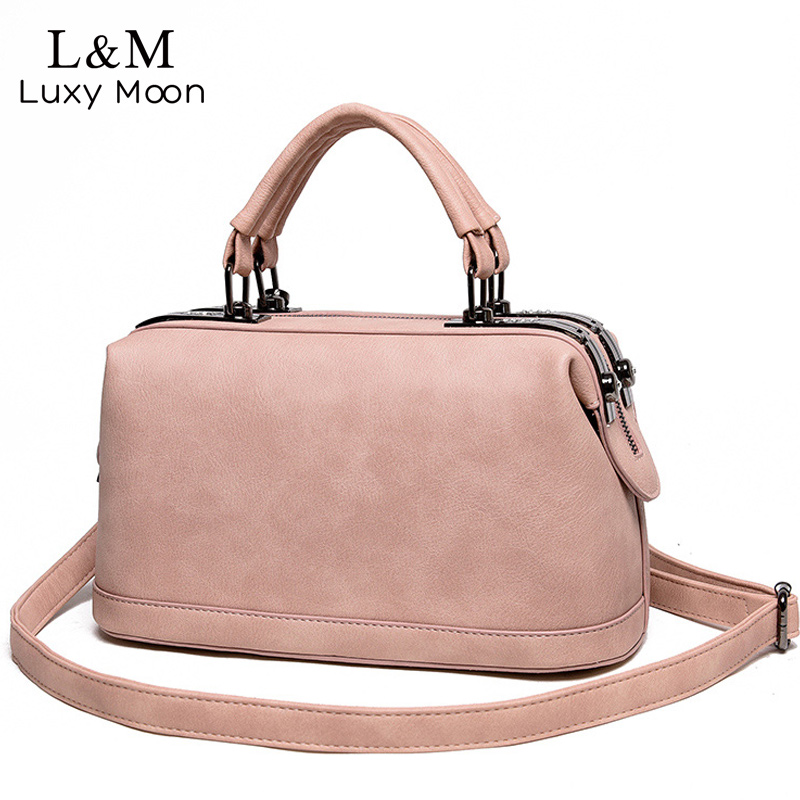 Women Leather Handbag Famous Brand Design Boston Messenger Bag  Fashion Vintage Ladies Small Shoulder Bags bolsa 2018 New XA120H