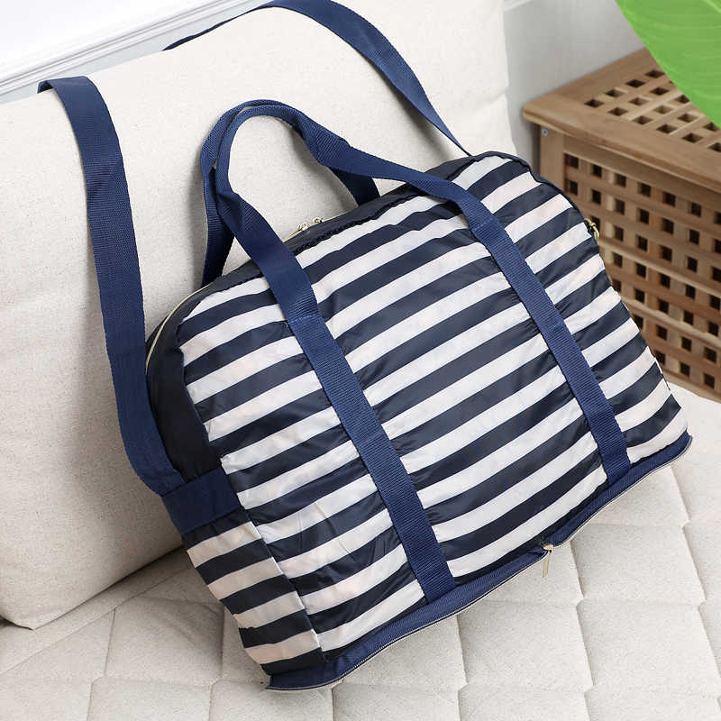 foldable large light stripe printing unisex travel tote shoulder bag portable folding big capacity handbag for business travel