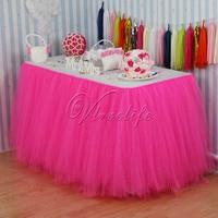 10 шт. ярко-розовый тюль туту Юбка для Стола пользовательские Wonderland Тюль Юбка для стола ing Свадьба День рождения Baby Shower партии украшение