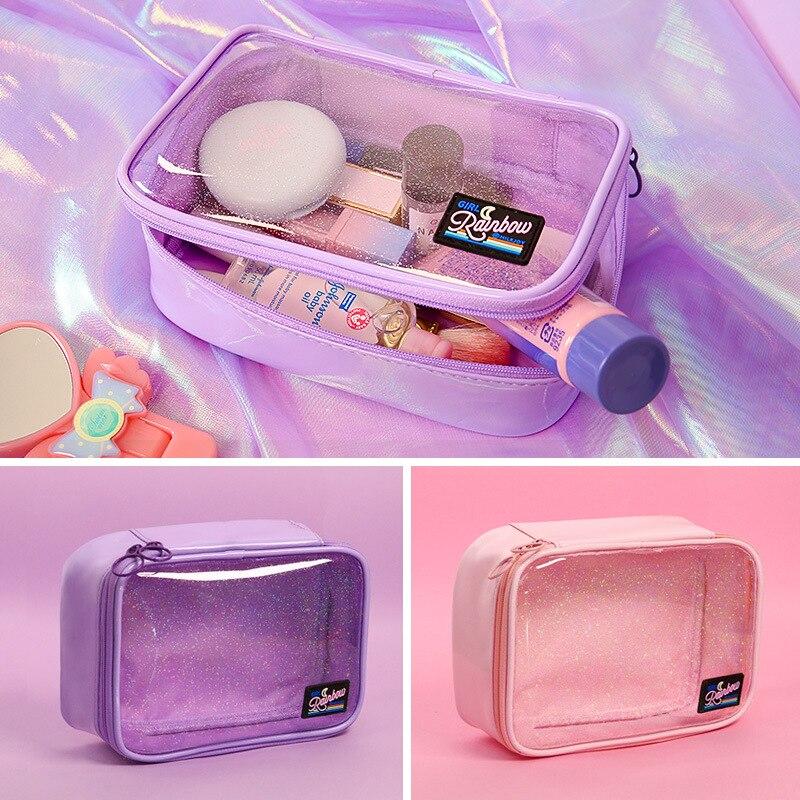 Transparent PVC Cosmetics Bag Make Up Brush Cases Bag Women Clutch Makeup Pouch Travel Toiletry Large Storage Organizer