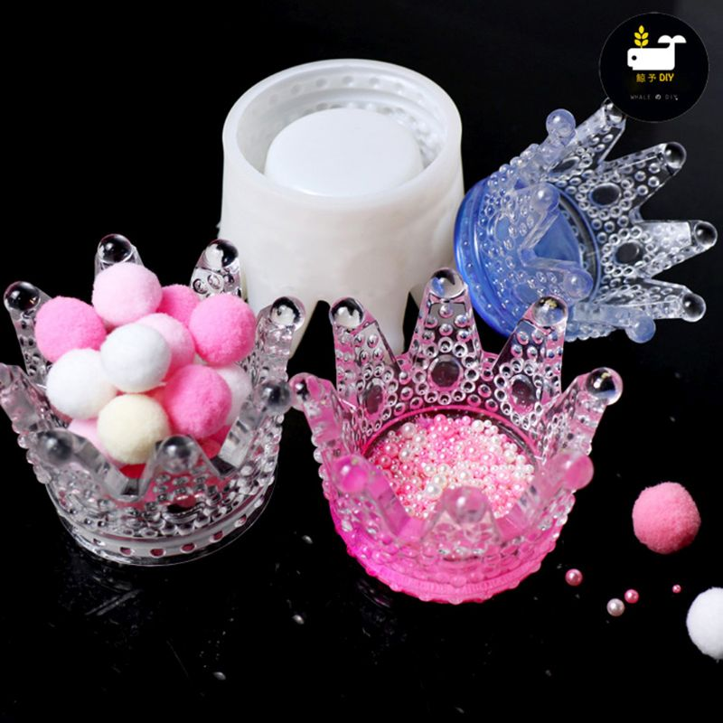 1 Pc 3D Crown Ashtray Storage Box Mold DIY Phone Holder Silicone Mold Resin Casting DIY Accessories Jewelry Making Tools