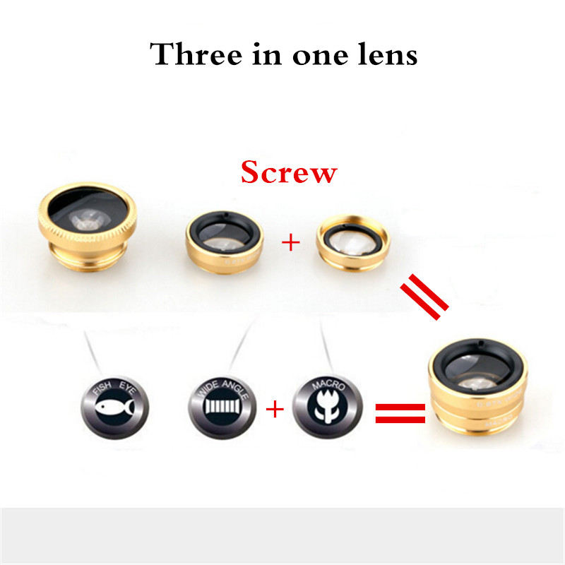 UVR Universal 3 In 1 Clip Fisheye Lens Camera Fish Eye Wide Angle Macro Lenses for Iphone 7 6 6s 5 4s Samsung Huawei Sony Xiaomi