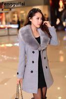 Plus Size Winter Fur Collar Wool Coats Pocket Bodycon Korean Style Fashion Ladies Elegant Coat 2018 5xl