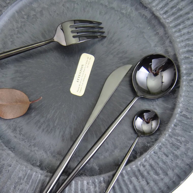 Stainless Steel Flatware Shiny Black Set