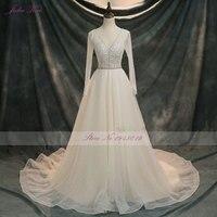 2018 luxurious Beaded Appliques Crystals Shiny Voile A Line Wedding Dress Vintage V Neckline Backless Full Sleeves Bride Dress