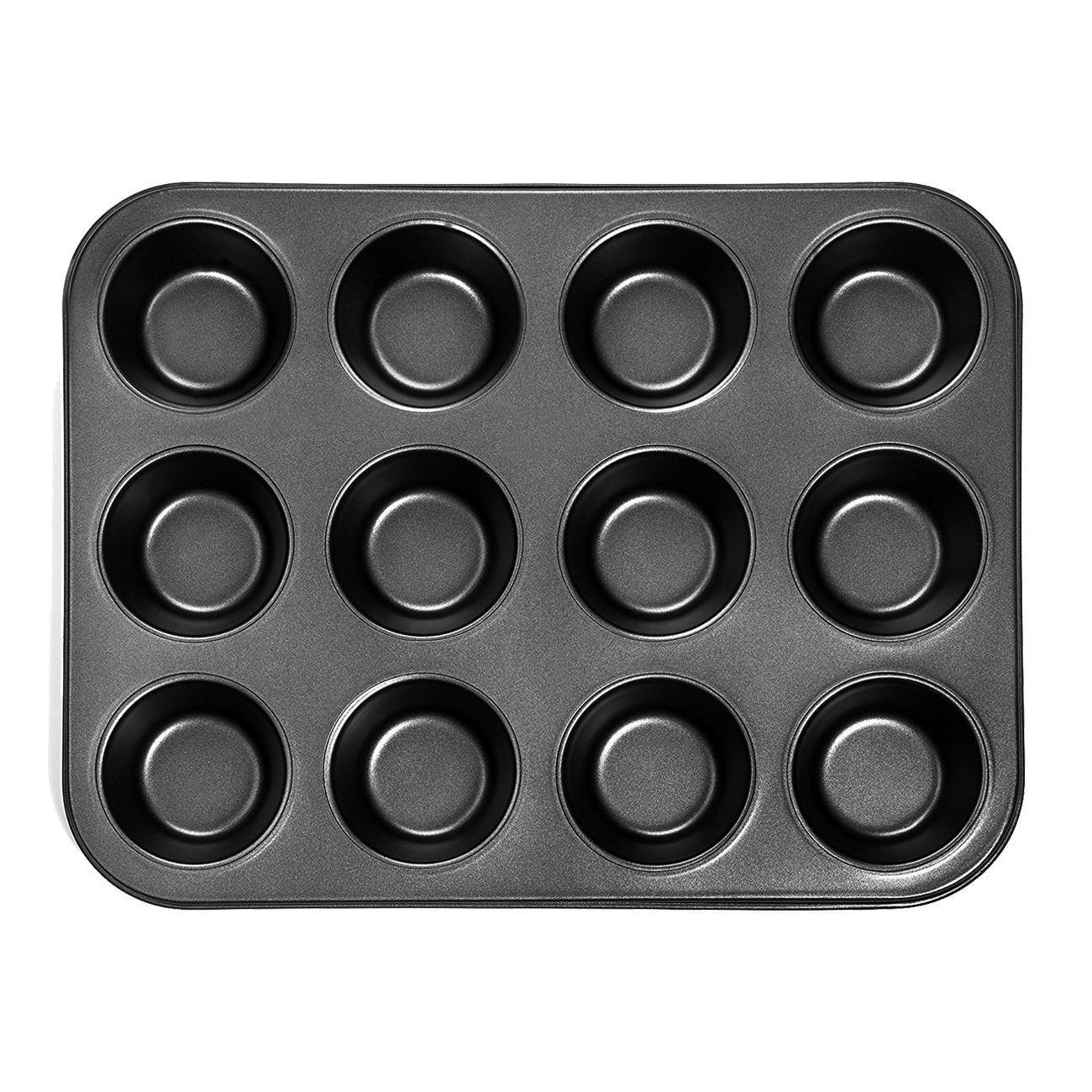 Heißer Verkauf Heavy duty carbon stahl cupcake backblech, 12 mini tasse cupcake förmigen kuchen pan, nonstick cupcake backblech, cupcake