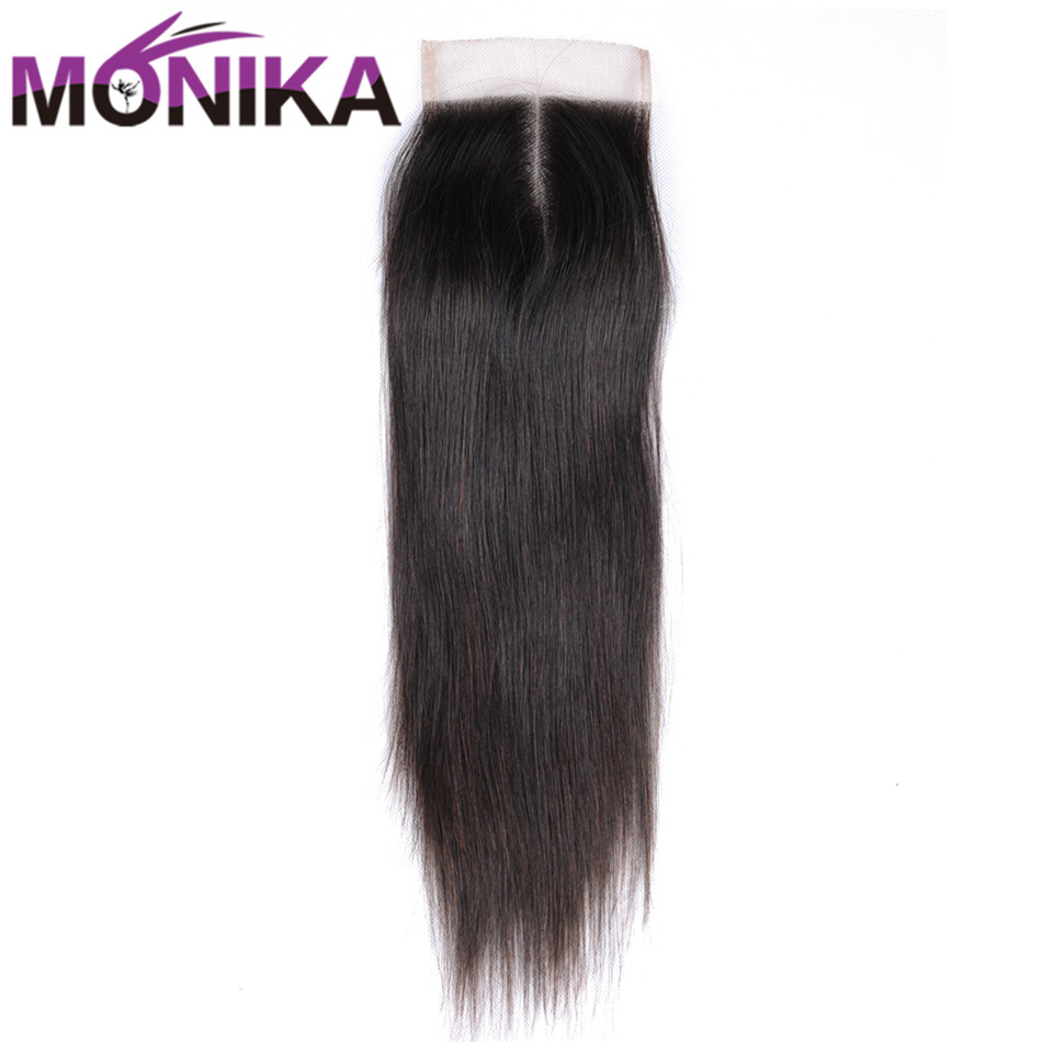 Monika Hair Top Closure Malaysian Straight 4*4 Lace Closure Middle Free Three Part Natural Color Non Remy Human Hair Closure