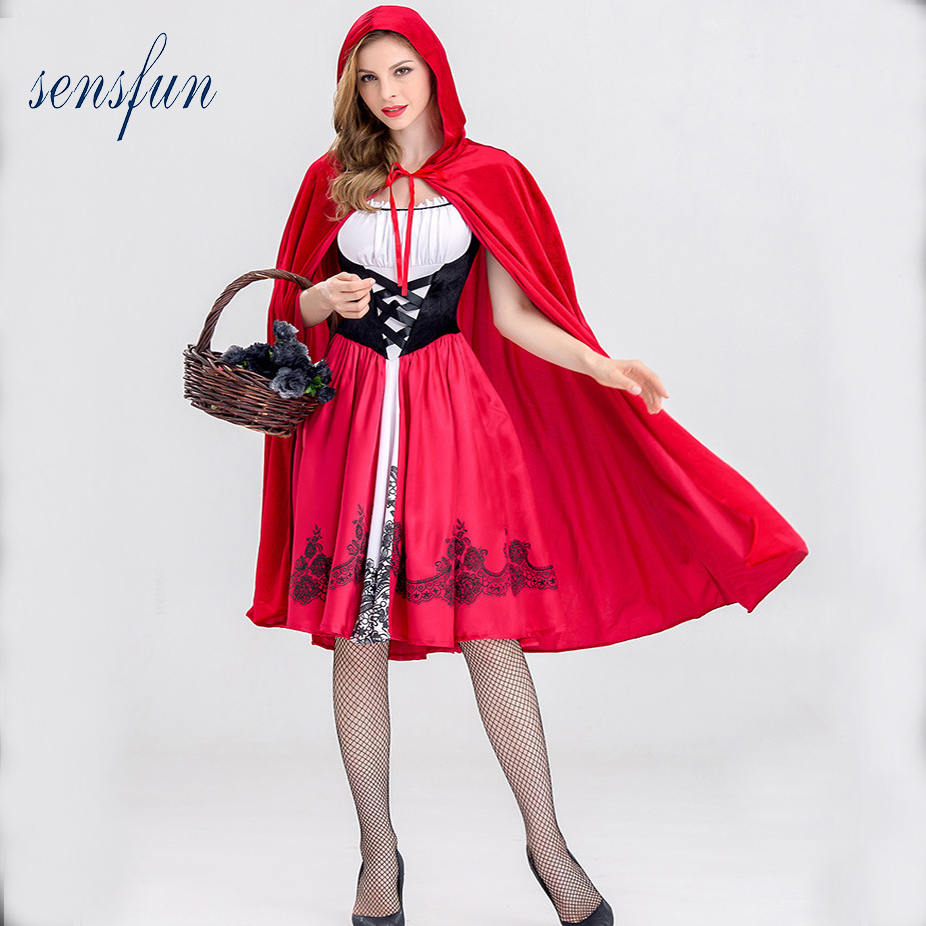 Sensfun Little Red Riding Hood Costume for Women Fancy Adult Halloween Cosplay Fantasia Dress+Cloak Cosplay Costume For Party