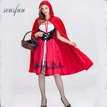 d5b0dc103c0 Sensfun Красная Шапочка костюм для женщин Необычные взрослые Хэллоуин  косплей Фантазия платье + плащ косплей костюм вечерние