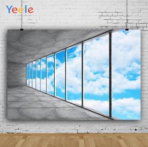 Image 3 - Yeele błękitne niebo białe chmury rama okienna fotografia wnętrza tła dostosowane fotograficzne tła dla Photo Studio