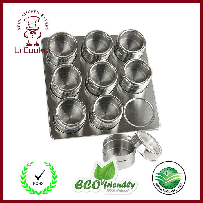 9pcs/Set High Quality Useful Spice Stainless Steel Magnetic Cruet Condiments Spice Rack Pots Set For Spice