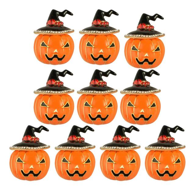 lot of 10 halloween little christmas hat and pumpkin brooches crystal thanksgiving jewellery - Halloween Thanksgiving Christmas