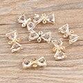 DIY Resultados Da Jóia de Cristal Pedrinhas Decorado Liga Tom de Ouro Arco Encantos Pulseira Colar Conector Pingentes 50 Pçs/lote