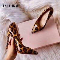 Лакированные леопардовые туфли на шпильке 12 см