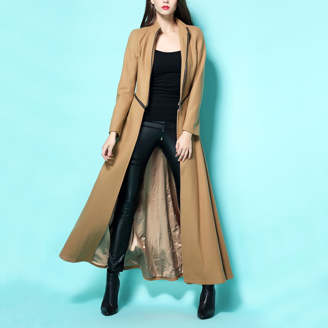 2017 New Winter C Women Stitching Big Swing Long Khaki Woolen Coat Floor  Length Wool Trench