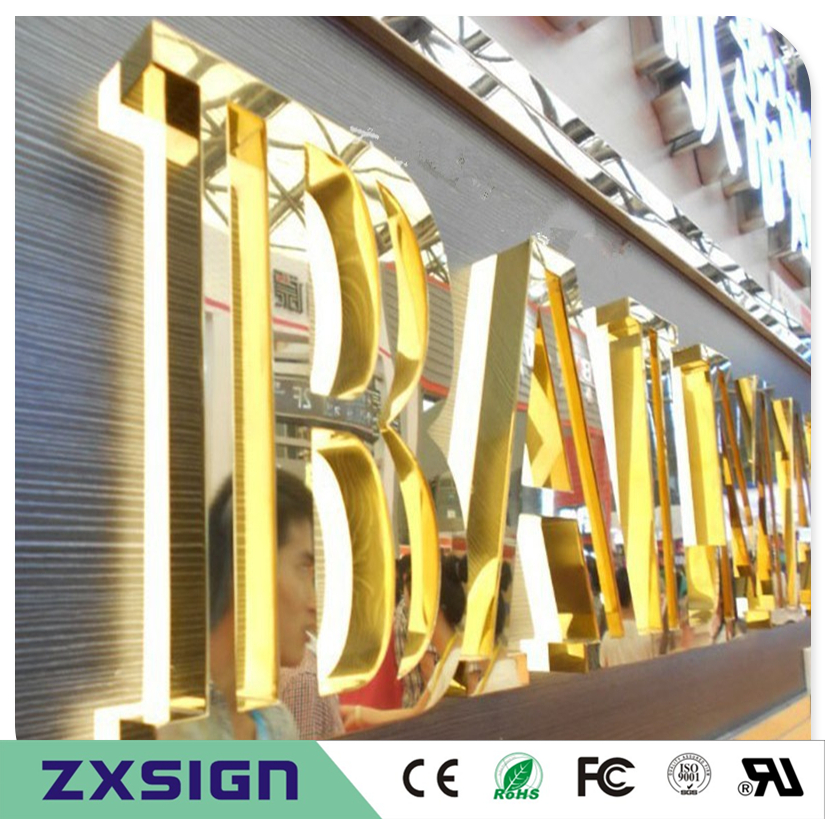Factory Outlet Outdoor Back Lit Golden Color Letter Sign, Stainless Steel Advertising Led Character Restaurant Company Name Sign