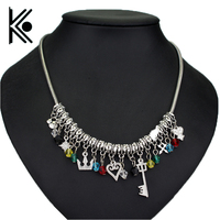 Game jewelry Kingdom Hearts necklace Darts love Crown Shape key Accessories necklace Women pendant jewelry